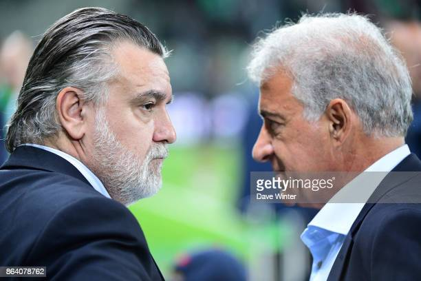 Montpellier president Laurent Nicollin and St Etienne copresident Bernard Caiazzo during the Ligue 1 match between AS SaintEtienne and Montpellier...