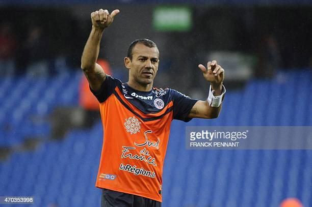 Montpellier's Brazilian defender Vitorino Hilton celebrates after Montpellier won their French L1 football match against Caen at Mosson Stadium in...