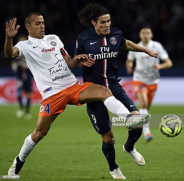 Montpellier's Brazilian defender Vitorino Hilton vies with Paris SaintGermain's Uruguayan forward Edinson Cavani during the French L1 football match...