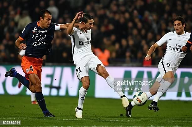 Montpellier's Brazilian defender Vitorino Hilton vies with Paris SaintGermain's Argentinian forward Angel Di Maria and Paris SaintGermain's Uruguayan...