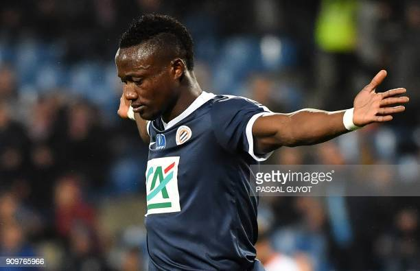 Montpellier's Chadian forward Casimir Ninga celebrates after scoring a goal during the French Cup round of 16 football match between Montpellier and...