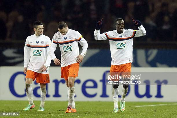 Montpellier's Colombian forward Victor Hugo Montano celebrates after scoring a goal during a French Cup football match between Paris SaintGermain and...