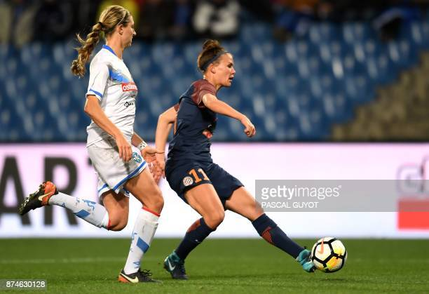 Montpellier's Danish midfielder Katrine Veje shoots and scores a goal during the UEFA Women's Champions League eighth finals football match between...
