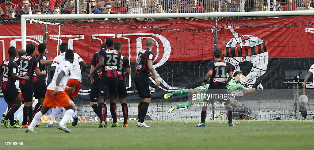 Montpellier's defender Siaka Tiene scores a goal during the French L1 football match between Nice and Montpellier on September 1, 2013 at the Ray stadium in Nice, southeastern France.