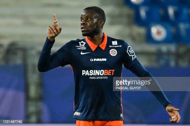 Montpellier's English forward Stephy Mavididi celebrates after scoring a goal during the French L1 football match between Montpellier Herault SC and...
