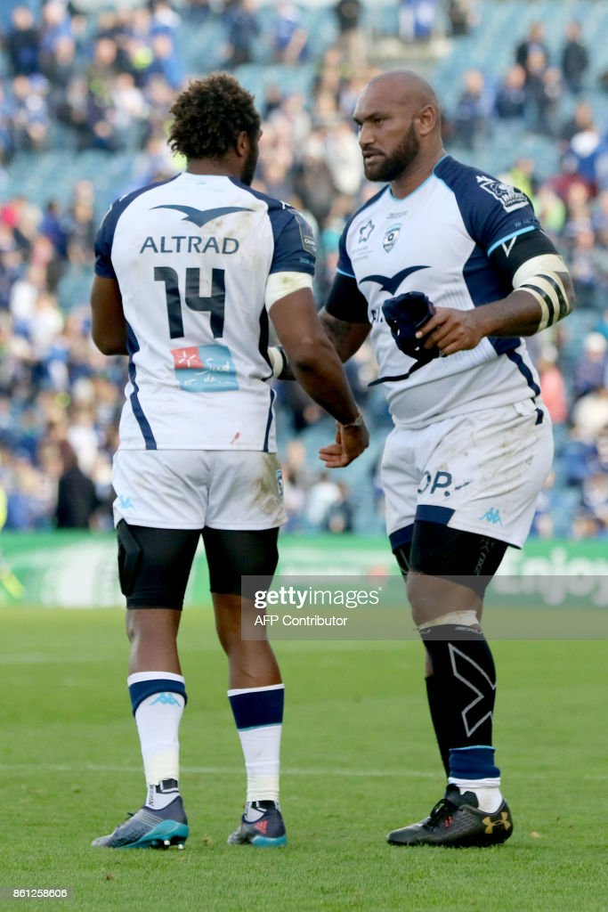 Montpellier's Fijian wing Nemani Nadolo (R) gestures after the European Rugby Champions Cup rugby union round 1 pool match between Leinster and Montpellier at the RDS Arena in Dublin, on October 14, 2017. / AFP PHOTO / Paul FAITH