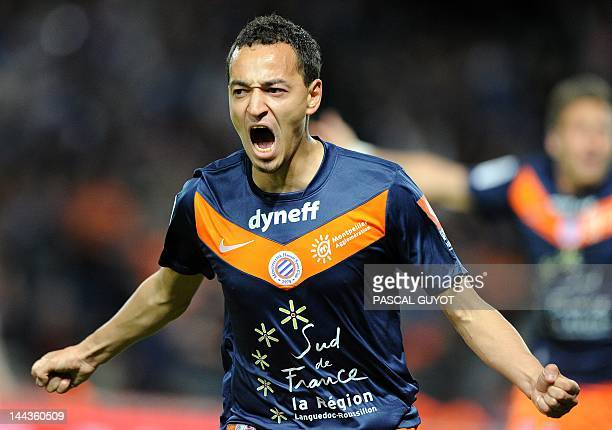 Montpellier's Forward Karim Ait Fana reacts after scoring a goal during the French L1 football match Montpellier vs Lille on May 13 2012 at the...
