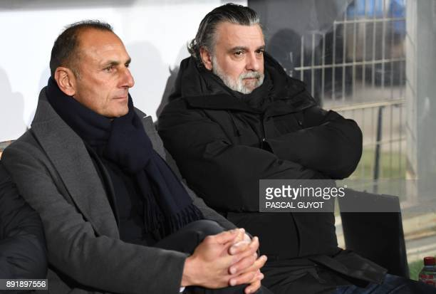 Montpellier's French club President Laurent Nicollin and Montpellier's French head coach Michel Der Zakarian attend the French League Cup round of 16...