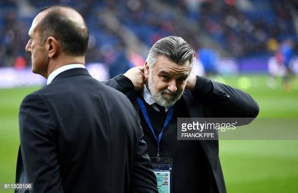Montpellier's French club president Laurent Nicollin reacts during the French L1 football match between Paris SaintGermain and Montpellier at the...