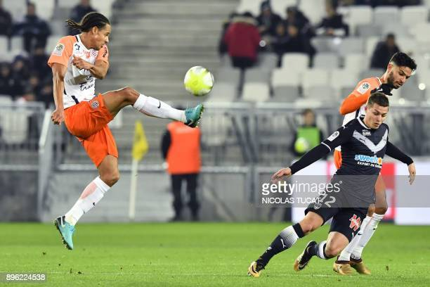 Montpellier's French defender Daniel Congre controls the ball during the French L1 football match between Bordeaux and Montpellier on December 20 at...