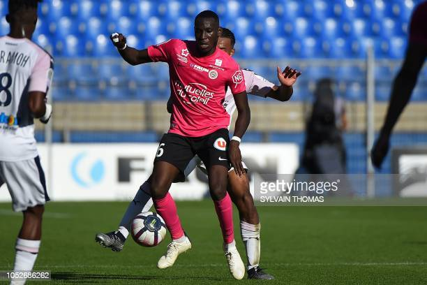 Montpellier's French defender Junior Sambia controls the ball during the French L1 football match between Montpellier and Bordeaux at the Mosson...