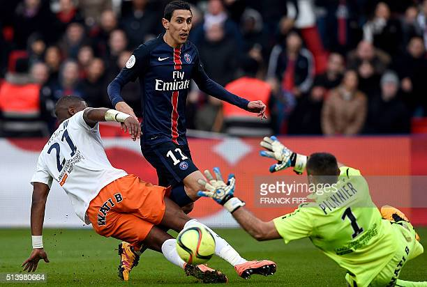 Montpellier's French defender William Remy and Montpellier's French goalkeeper Laurent Pionnier vie with Paris SaintGermain's Argentinian forward...