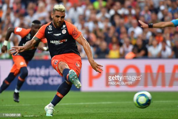 Montpellier's French forward Andy Delort kicks the ball during the French L1 football match between Montpellier Herault SC and Olympique Lyonnais at...