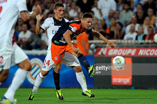 Montpellier's French forward Anthony Mounier kicks the ball during the French L1 football match between Montpellier and Paris Saint-Germain on August...