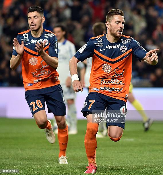Montpellier's French forward Anthony Mounier reacts after scoring a penalty during the French L1 football match between Montpellier and Bastia on...