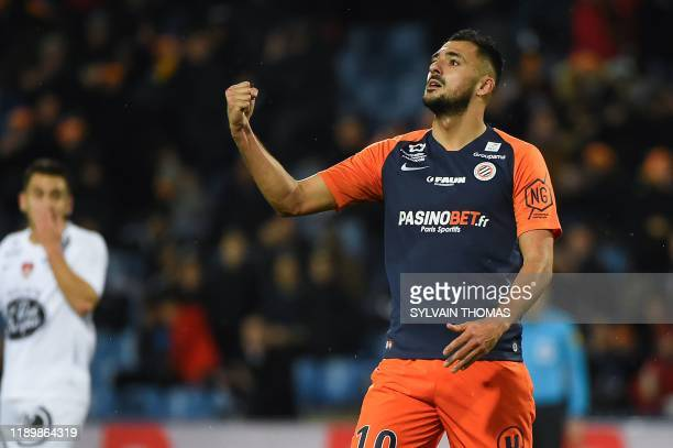 Montpellier's French forward Gaetan Laborde celebrates after scoring a goal during the French L1 football match between Montpellier Herault Sport...