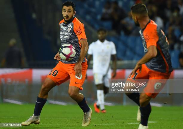 Montpellier's French forward Gaetan Laborde controls the ball during the French L1 football match between Montpellier and Nice on September 22 2018...