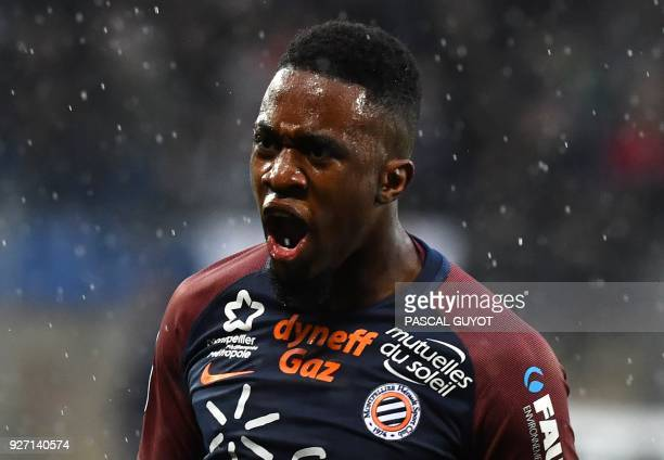 Montpellier's French forward Isaac Mbenza during the French L1 football match between Montpellier and Lyon on March 4 2018 at the La Mosson Stadium...