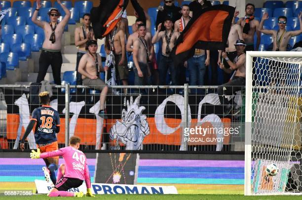 Montpellier's French forward Isaac Mbenza scores a goal during the French L1 football match between MHSC Montpellier and Lorient on April 15 2017 at...