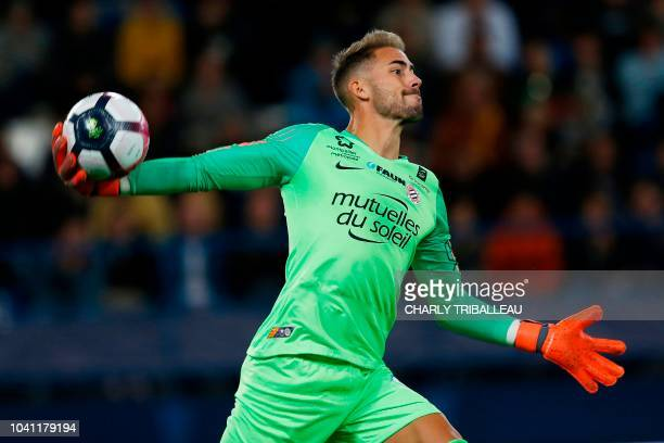 Montpellier's French goalkeeper Benjamin Lecomte gestures during the French L1 football match between Caen and Montpellier on September 26 at the...