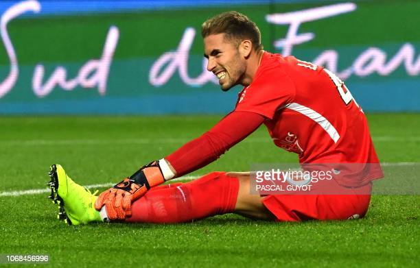 Montpellier's French goalkeeper Benjamin Lecomte reacts during the French L1 football match between Montpellier and Lille on December 4 2018 at the...