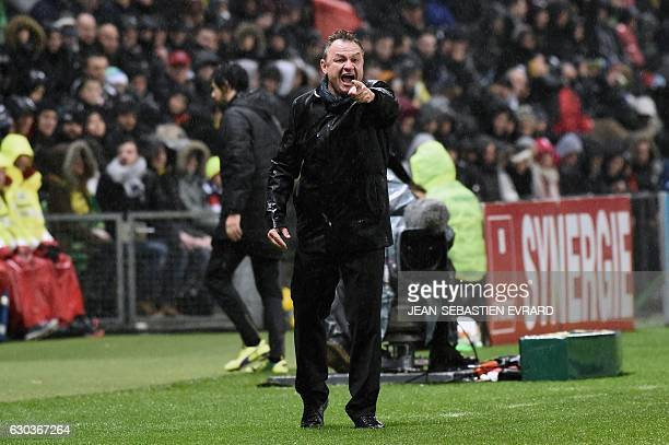 Montpellier's French head coach Frederic Hantz gestures during the French L1 football match between Nantes and Montpellier on December 21 2016 at the...