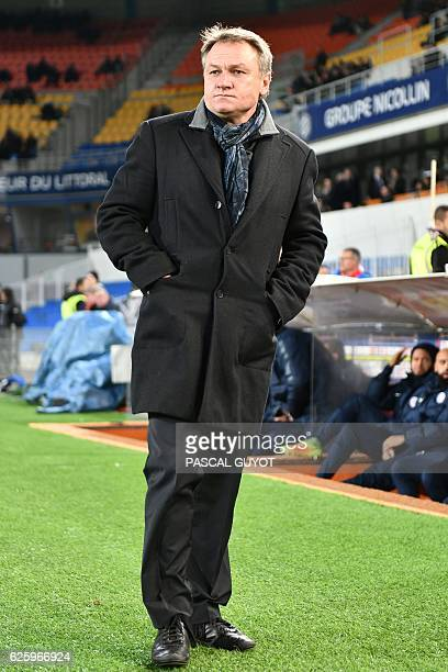 Montpellier's French head coach Frederic Hantz looks on during the French L1 football match between Montpellier and Nancy on November 26 at the La...