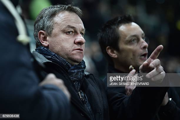 Montpellier's French head coach Frederic Hantz looks on during the French League Cup football match between Nantes and Montpellier on December 13...