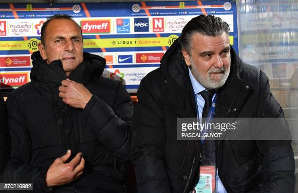 Montpellier's French head coach Michel Der Zakarian and Montpellier's French club president Laurent Nicollin react during the French L1 football...