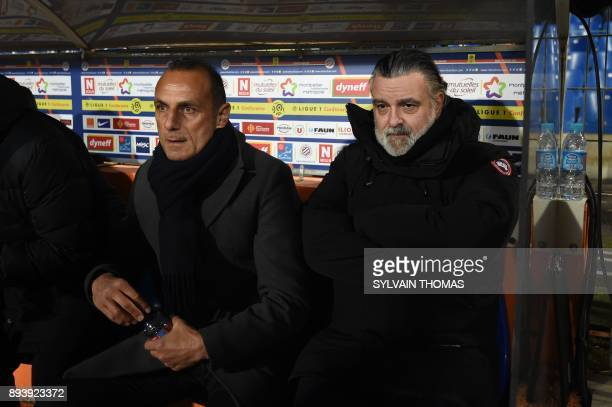 Montpellier's French head coach Michel Der Zakarian and Montpellier's French club president Laurent Nicollin looks on during the French L1 football...