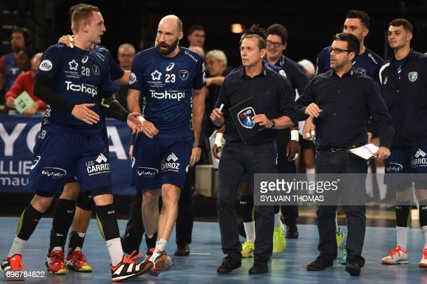 Montpellier's French head coach Patrice Canayer looks at players during the French D1 handball match between Montpellier and Paris at Sud de France...