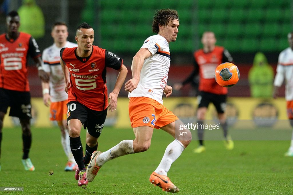 Montpellier's French midfielder Benjamin Stambouli competes during the French L1 football match between Rennes and Montpellier on February 15, 2014 at the Route de Lorient stadium in Rennes, western France.
