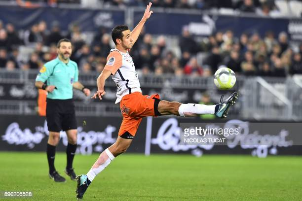 Montpellier's French midfielder Ellyes Skhiri controls the ball during the French L1 football match between Bordeaux and Montpellier on December 20...