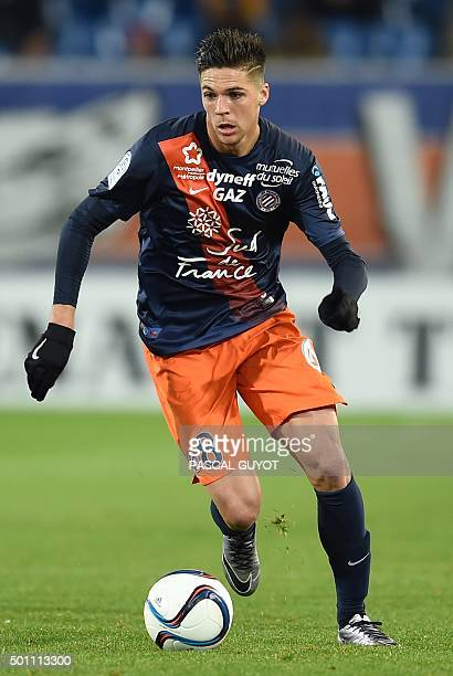 Montpellier's French midfielder Jonas Martin controls the ball during the French L1 football match between Montpellier and Guingamp at the La Mosson...