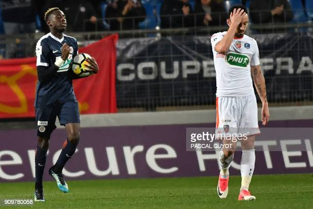 Montpellier's French midfielder Junior Sambia celebrates after scoring a goal during the French Cup round of 16 football match between Montpellier...