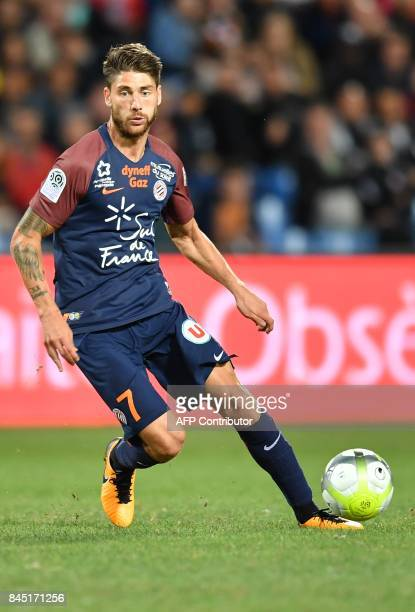 Montpellier's French midfielder Paul Lasne runs with the ball during the French L1 football match between MHSC Montpellier and Nantes on September 9...
