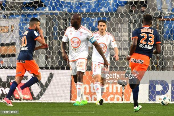 Montpellier's French midfielder Ryad Boudebouz reacts after scoring a goal during the French L1 football match between MHSC Montpellier and Lorient...