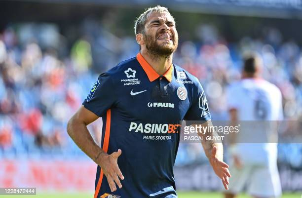 Montpellier's French midfielder Teji Savanier reacts during the French L1 football match between Montpellier and Nice at the Mosson Stadium in...