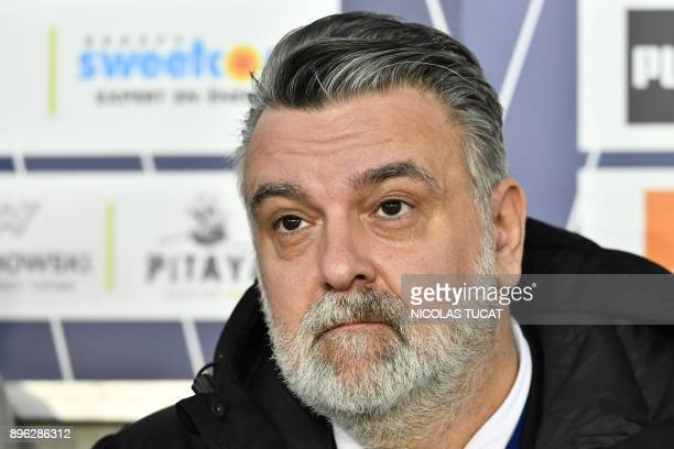 Montpellier's French president Laurent Nicollin looks on before the French L1 football match between Bordeaux and Montpellier on December 20 2017 at...