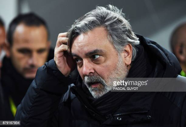Montpellier's French president Laurent Nicollin reacts during the French L1 football match between Montpellier and Lille on November 25 at the La...