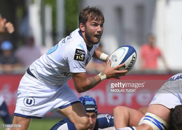 Montpellier's French scrumhalf Benoit Paillaugue runs with the ball during the French Top14 rugby union match between Agen and Montpellier at the...