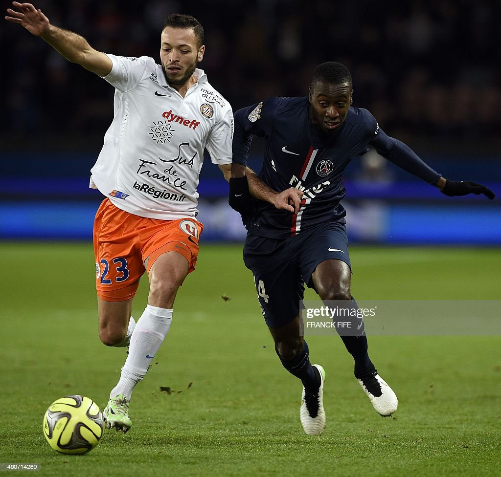 Montpellier's French Tunisian midfielder Jamel Saihi (L) vies with Paris Saint-Germain's French midfielder Blaise Matuidi during the French L1 football match Paris Saint-Germain (PSG) vs Montpellier (MHSC) on December 20, 2014 at the Parc des Princes stadium in Paris.