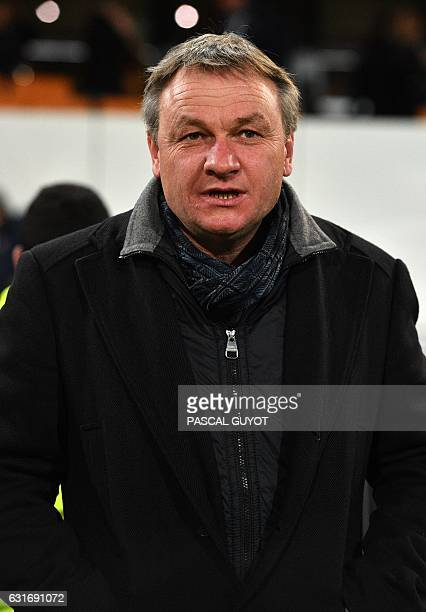 Montpellier's head coach Frederic Hantz attends the French L1 football match between MHSC Montpellier and Dijon on January 14 2017 at the La Mosson...