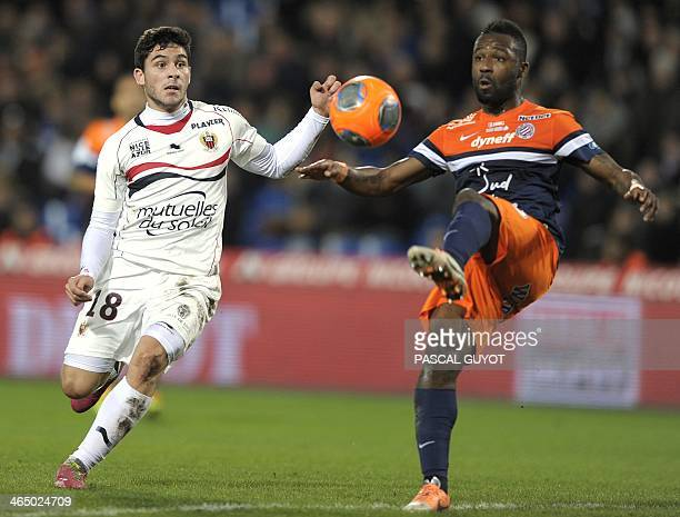 Montpellier's Ivorian defender Siaka Tiene vies for the ball with Nice's French forward Neal Maupay during the French L1 football match Montpellier...