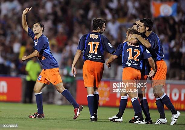 Montpellier's Karim Ait Fana reacts after scoring a goal during the French L1 football match Montpellier vs Sochaux on August 22 2009 at the Mosson...
