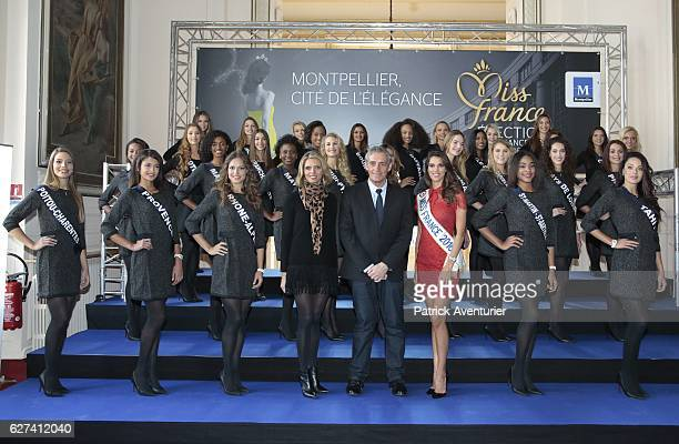 Montpellier's mayor Philippe Saurel Miss France 2016 Iris Mittenaere and Miss France 2002 General director of both the Society Miss France and Miss...