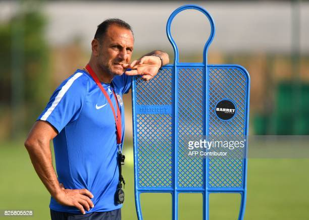 Montpellier's new French head coach Michel Der Zakarian looks on during a training session of French L1 football club Montpellier HSC at the Grammont...