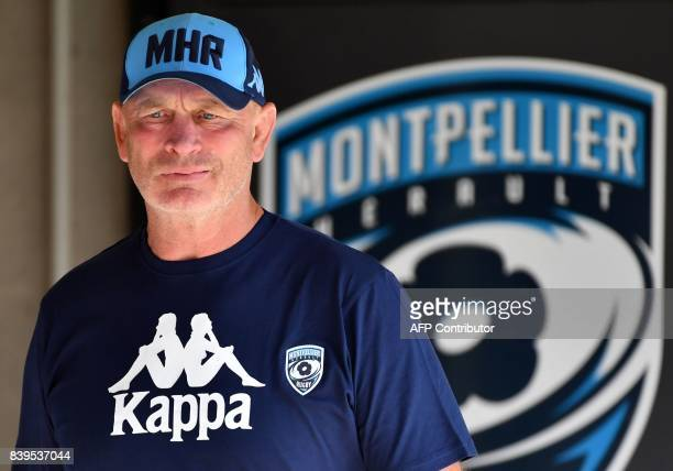 Montpellier's New Zealand head coach Vern Cotter looks on before the French Top14 rugby union match between Montpellier and Agen on August 26 2017 at...