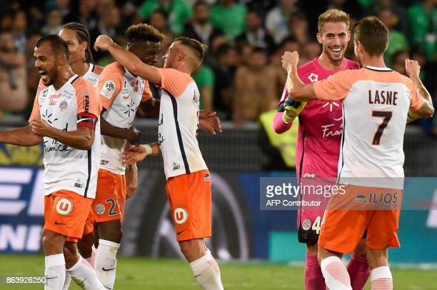 Montpellier's players celebrate during the French L1 football match SaintEtienne vs Montpellier on October 20 at the Geoffroy Guichard Stadium in...