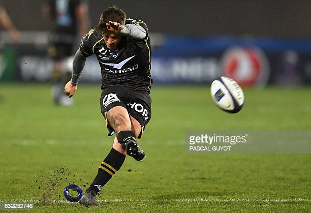 Montpellier's South African flyhalf Demetri Catrakilis converts a try during the European Champions Cup rugby union match between Montpellier and...